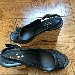 Kate Spade Black Della Wedge Sandals.
